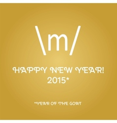 Happy new year card with sign of the horns vector image