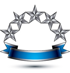Heraldic template with five-pointed silver stars vector