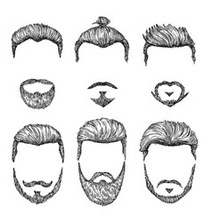 hipster haircut hand drawn vintage hair styles vector image