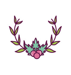 holly berry foliage branches decoration merry vector image