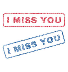 I miss you textile stamps vector