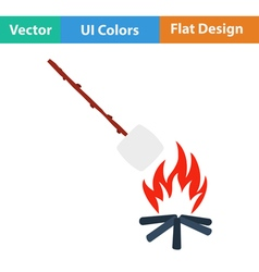 Iicon of camping fire with marshmallow vector