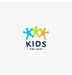 Isolated colorful kids silhouette logo vector image vector image