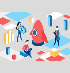 isometric business start up concept project vector image