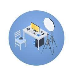 Isometric photographer workplace vector image