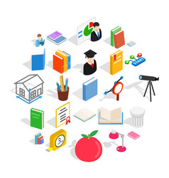 Learning icons set isometric style vector