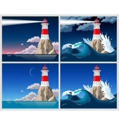 Lighthouse on the rock vector