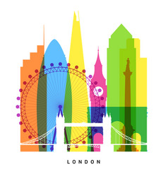 london landmarks bright collage vector image