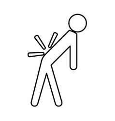 man a with sick back backache black icon vector image