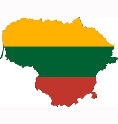 Map lithuania with national flag vector