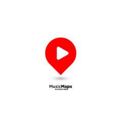 Music map location logo design template vector