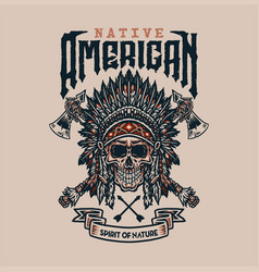 native american t shirt graphic design vector image