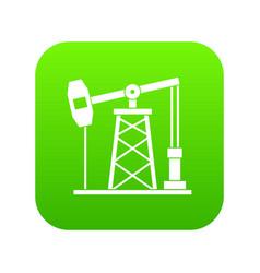 Oil derrick icon digital green vector