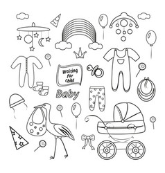 Outline set for newbornsbaby stroller and clothes vector
