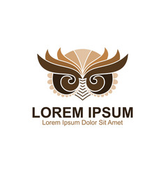 Owl art logo vector