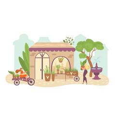 people in garden greenery flat vector image