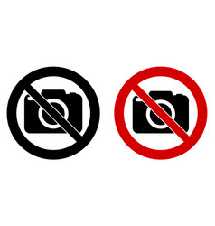 Photography not allowed sign camera icon in vector