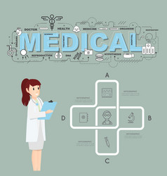 Physician with medical icons infographic design vector