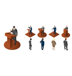 political meeting icon set isometric style vector image