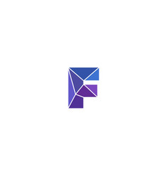Polygonal trend letter f logotype color vector