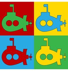 Pop art submarine icons vector image