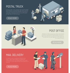 Post Office Service 3 Isometric Banners vector image