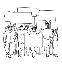 protesting people with blank signs crowd vector image