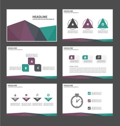 Purple green purple presentation templates set vector image