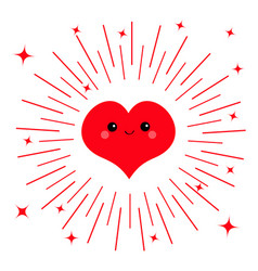 red heart face head icon cute cartoon kawaii vector image