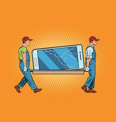 Repair of smartphones broke the screen vector