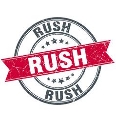 Rush red round grunge vintage ribbon stamp vector