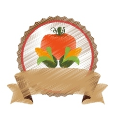 seal stamp with pumpkin icon vector image