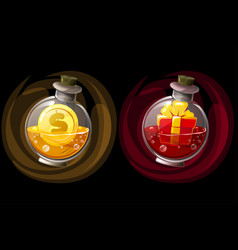Set isolated elixir bottles with gift and coin vector