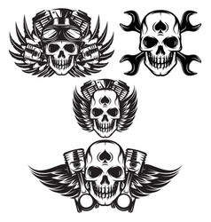 set monochrome image on motorcycle theme with vector image