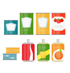 set of cans template in modern flat style isolated vector image