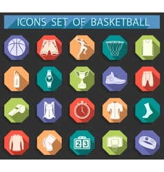 Set of icons basketball in flat style vector