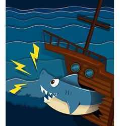 Shipwreck and shark attack underwater vector image vector image