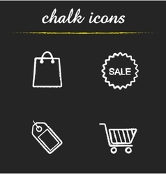 Shopping chalk icons set vector image