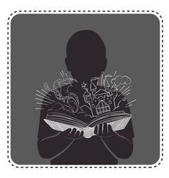 silhouette avatar boy magic book vector image