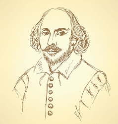 Sketch William Shakespeare portrait in vintage vector