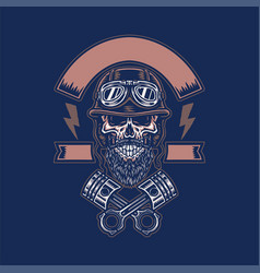 skull in helmet with crossed pistons vector image