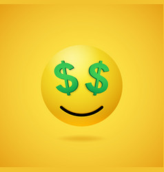smiling rich emoticon with dollar sign eyes vector image