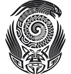 Snake-bird tattoo pattern vector