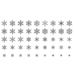 snowflake simple black line icons snow set vector image