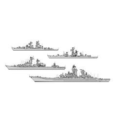 Soviet cruisers vector