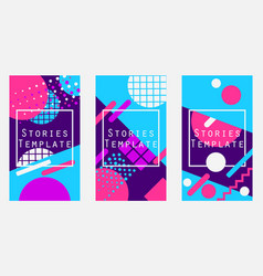 stories template memphis style geometric objects vector image