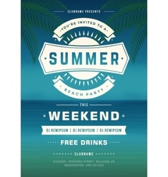 Summer holydays beach party typography poster vector