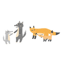 super cute mothers and babies - wolves and foxes vector image