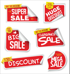 super sale stickers and tags modern red collection vector image