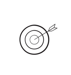 target icon arrow with handdrawn doodle style vector image